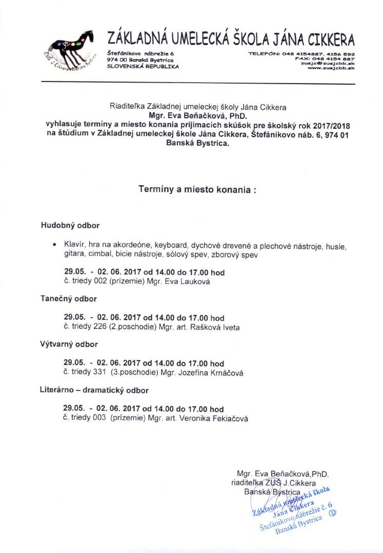 Prijímacie skúšky ZUŠ Štefánikovo
