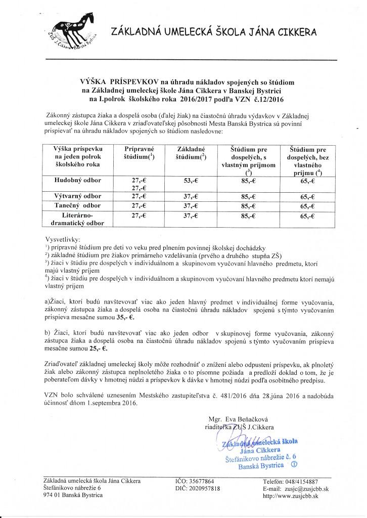 Výška príspevkov na úhradu školného 2016 - 2017