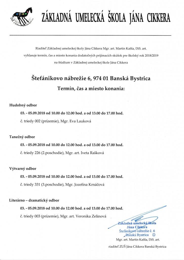 Dodatočné prijímacie skúšky Štefánikovo nábrežie 9 2018