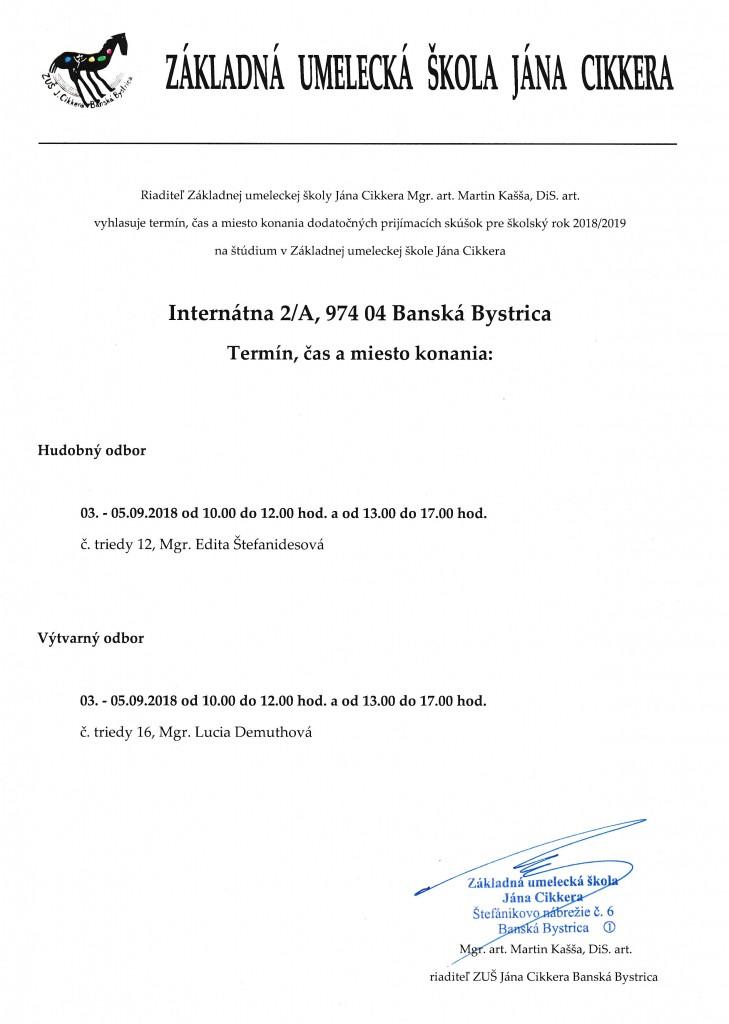 Dodatočné prijímacie skúšky Internátna 9 2018